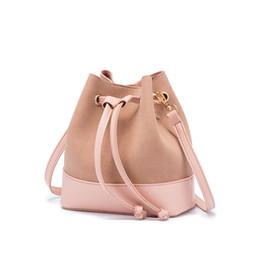 China 4 colors purse shoulder bags pu leather bucket bag women handbags high quality crossbody bag cheap drawstring handbags suppliers