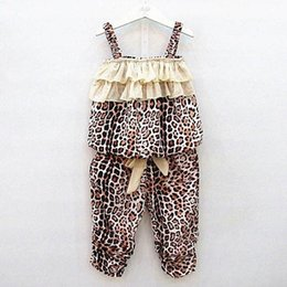 online shopping Factory Price Baby Girl Kids Children Leopard Vest Pants Clothes Suit Outfits Sets Y