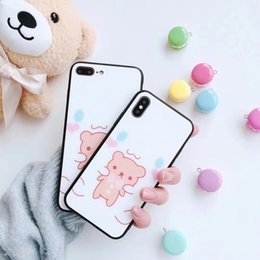 $enCountryForm.capitalKeyWord Australia - for iphone X 8 7plus 6s phone case glass Shell 2 in 1 painting Scratch-resistant flowers IMD Printing black Cartoon smiling face