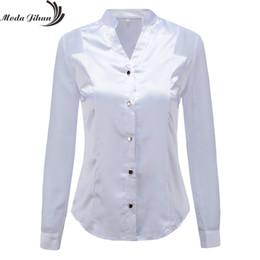 7ba2ec20864e09 Moda Jihan New Design Women Blouses & Shirts White Black Long Sleeve  Chiffon Splice Satin Office Tops Slim Style V Neck Female