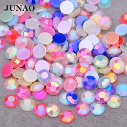 Crystals Rhinestones Wholesale Australia - JUNAO 8mm Mix Color AB Crystals Flatback Rhinestones Acrylic Crystal Stones Round Strass Non Sewing Scrapbook Beads for DIY