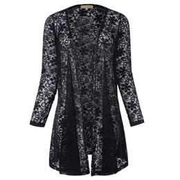 female transparent clothes UK - Sexy Women Transparent Lace Blouses Tops Long Sleeve Open Front Cardigan Coat Black White Autumn Female Clothing Lady Long Shirt