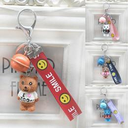 $enCountryForm.capitalKeyWord Canada - Free DHL 5 Styles Cartoon Bear Keychains Women Key Rings Fashion Smile Face Alphabet Bells Keyrings Bag Car Charms Jewelry G741Q