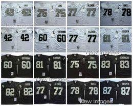 cef7ef285 Retro jersey 77 Lyle Alzado 42 Ronnie Lott 75 Howie Long 83 Ted Hendricks  60 Otis Sistrunk 82 al davis 87 casper Black Jerseys Size M-XXXL
