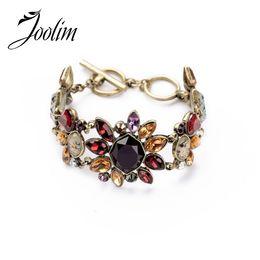 Lead Gifts NZ - JOOLIM High End Statement Bracelet Vintage Flower Charm Bracelet Gift For Women Nickel and Lead Free
