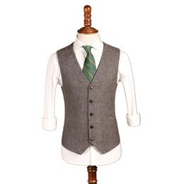 AmericAn custom mAde prom dresses online shopping - 2019 Latest Farm Gray Wool Herringbone Tweed Wedding Groom Vests Custom Made Groomsmen Vest Slim Fit Mens Suit Vest Prom Waistcoat Dress In