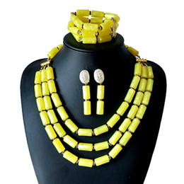 Tibet Coral Beads NZ - Wholesale Fashion African Beads Jewelry Sets Ethiopian Yellow Coral Beads Jewelry Set Nigerian Wedding Beads Bridal Necklace Jewelry Set