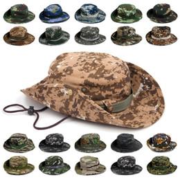 Pesca deportiva al aire libre Sombrero Cubo de camuflaje Sombrero Pescador Camo Selva Bush Sombreros Boonie Protección UV Ala ancha Sombreros de sol Ripstop en venta
