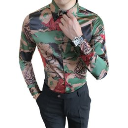 $enCountryForm.capitalKeyWord UK - Korean Tuxedo Shirts Men Quality Luxury Camouflage Print Men's Casual Shirt Slim Fit Long Sleeve Spring New Night Club Blouses