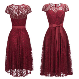 dc450bb225 Red womens chRistmas dResses online shopping - Burgundy Tea Length Lace  Evening Prom Dresses Womens Cheap