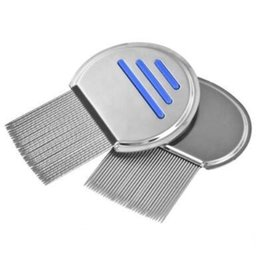 removing dog hair NZ - Stainless Steel Lice Round Comb Non-slip Handle Nit Free Terminator Pet Dog Cat Louse Flea Remove Round Lice Comb 1000pcs