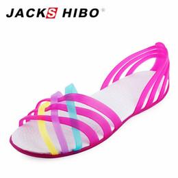 4f25d1d1d JACKSHIBO Women Sandals Cute Candy Color Women Shoes Female Sandalias  Summer Peep Toe Beach Valentine Rainbow Jelly Shoes