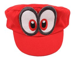 games hat Canada - Game Super Mario Odyssey Hat Adult Kids Anime Cosplay Cap Handmade Cotton Adjustable
