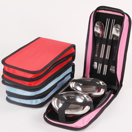 Family tops online shopping - Portable Picnic Tableware Set Metal Double Bowl Chopsticks Spoon Dishware Kit Practical Stainless Steel Dinnerware Sets Top Quality ly B