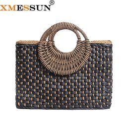Coach Handbags Canada - 2018 New Straw Bag Hand-woven Simple Wild Beach Bag trend Retro Vintage Casual Totes Handbag Black Color Drop Shopping E120