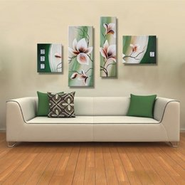 Flower Oil Paintings Australia - Green Handmade Acrylic Floral Paintings 4 Piece Pictures Hand painted Abstract Flower Oil Painting on Canvas Home Decor Wall Art