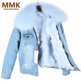 Discount pink fox coat - New Parka Winter Women Coat With Large Raccoon Fur Collar Real Fox Fur Lining Jacket Top Quality
