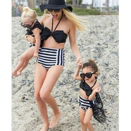 Discount black girls white bikinis Summer Mother Daughter Matching Clothing Two pieces Swimsuits Big Bow Hanging Neck Tops+ Striped Briefs Mommy and me Mat