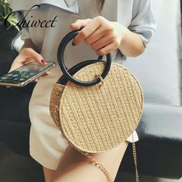 Women Designer Round Top-Handle Woven Straw Bag Summer Beach Circle Holiday  Handbags Brand Bali Small Messenger Shoulder Bags straw handbags totes for  sale f1a867d264b1f