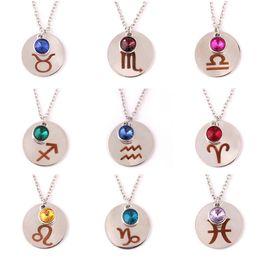 $enCountryForm.capitalKeyWord NZ - 2018 New 12 Twelve Constellations Necklace Leo Pendant Crystal Blue Pink Lion Symbol Jewelry zodiac necklace Wholesale