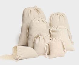 Bolsas de cordão de linho de jóias 8x10cm 9x12cm 10x15cm 13x17cm 15x20cm 20x30cm Partido Candy Sack Saco de Algodão Bolsas De Embalagem em Promoção