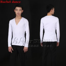 Practice Suits NZ - Latin Dance Men Tops Costume Performance Competition Suit Customized White Long Sleeves V-neck Practice T-shirt Rumba Salsa Tango Chacha Top