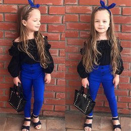 Baby Girl Summer Suits Australia - INS 2018 2PCS Outfit Children Suit Fashion Toddler Girls Clothing Set Baby Girls Solid Black Chiffon Off Soulder T-shirt Tops + Pant 1t-7t
