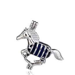 $enCountryForm.capitalKeyWord NZ - 10pcs lot Silver Alloy Running Horse Beauty Oysters Beads Cage Locket Pendant Aromatherapy Perfume Essential Oils Diffuser