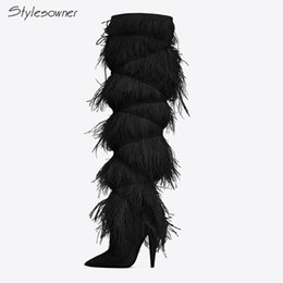 China Stylesowner Sexy Over The Knee High Women Boots Thin High Heels Pointed Toe Tassels Boots Fringe Prom Pumps Thigh supplier tassel fringe heels suppliers
