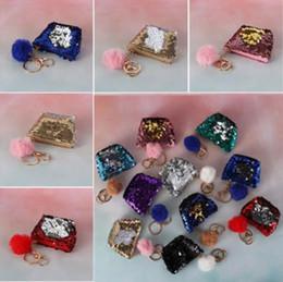 $enCountryForm.capitalKeyWord Australia - 10 Colors Mermaid Sequin Keychains Pouch Wallet Glittering Coin Purse Zipper Earphone Storage Bags With Cute Plush Ball CCA10712 200pcs