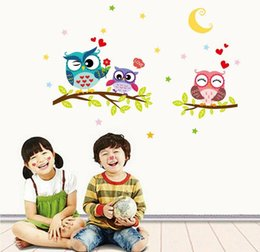 Bedroom wall night light online shopping - Creative Night Moon Animals Owl Tree Branch DIY Removable Wall Stickers Kids Room Living Room Backdrop Mural Decal Home Decor