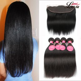cambodian weave bundles 2019 - Brazilian Straight Virgin Hair Weaves 3 Bundles with Lace Frontal Peruvian Malaysian Indian Cambodian Human Hair Extensi