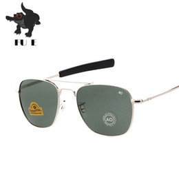 54mm glasses Australia - FU E New Fashion Army 54mm AO  Sunglasses American Optical Glass Lenses Sunglasses Oku Ross De Sol - Male Mirror