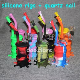 Oil Barrel Drum NZ - Hookah Silicone Barrel Rigs Mini Silicone Rigs Dab Jar Bongs Jar Water pipe Silicon Oil Drum Rigs with quartz nails free shipping