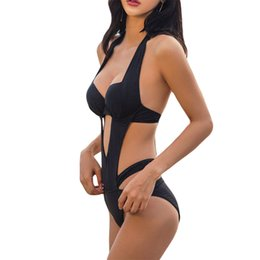 a8f53d364feb4 2018 Sexy Black Halter Cut Out Bandage Trikini Swim Bathing Suit Monokini  Push Up Brazilian Swimwear Women One Piece Swimsuit