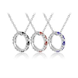 $enCountryForm.capitalKeyWord NZ - FREE SHIPPING rhinestone colorful enamel circle pendant necklace paw print necklace for pet lover hand stamped jewelry