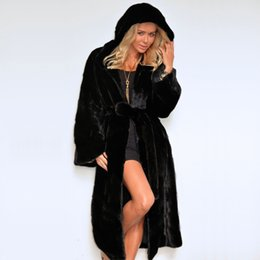 Luxury Women Parka Canada - Naiveroo Winter Thick Warm Faux Fur Coat Hood Luxury X-Long Coats Women Black Hooded Parkas Fur Jackets With Belts