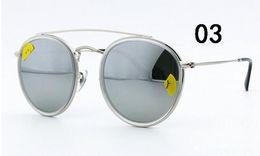 ee5fc405249 New Arrial 3647 sunglasses brand designer sunglasses metal frame glass  lense 51mm sunglasses for women Round double Bridge gradient 5 color