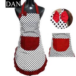 $enCountryForm.capitalKeyWord Australia - Hot Sale 1 Pieces Cute BowKnot Dot Women Kitchen Restaurant Bib Cooking Aprons With Pocket Gift
