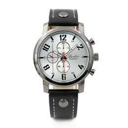 Wholesale Three eye gun black quartz watch male rivet simulation STRAP WATCH QUARTZ Wristwatches