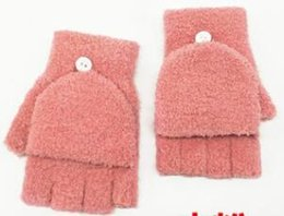 Knitted half finger gloves online shopping - New colors Cute Knitted Gloves Men s and Women s Plush Thicken Winter Half Fingers Warm Korean Edition Flip Daily Gloves
