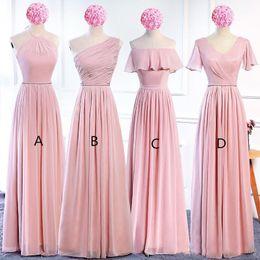 Lavender Blush Wedding Dress Australia - Blush Pink Chiffon Long Bridesmaid Dresses Lace Up 2018 Bohemian Bridesmaid Dress Floor Length Wedding Guest Dresses
