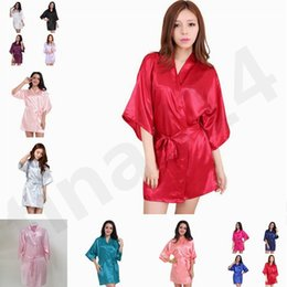 Silk women pajamaS ShortS online shopping - Women Night robe Imitation Real Silk  Pajamas Kimono Robe 9663a51b6