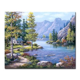 $enCountryForm.capitalKeyWord NZ - DIY Oil Painting By Numbers Kits HandPainted Stream Mountains Woods House Canvas Pictures Living Room Decor Wall Scenery Framed
