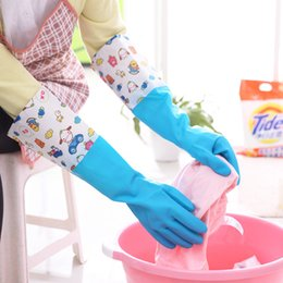 neoprene rubber NZ - Kitchen housework dishwashing gloves Thicken wide and tight laundry long section thin rubber gloves waterproof plus velvet gloves