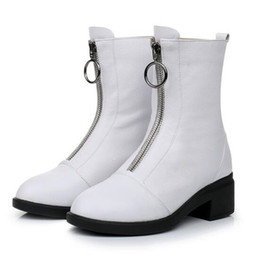 elegant heel snow boots Australia - Elegant Fashion Front Zipper Genuine Leather Shoes Woman Boots 2018 Newest Autumn and Winter Thick Heel Snow Boots Shoes shoes Size 33-43