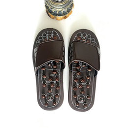 Discount shoes stone sandals - New Sandal Reflex Massage Slippers Acupuncture Foot Healthy Care Massager Magnetic Therapy stone Slippers shoes for Men