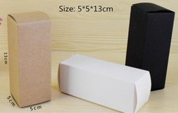 Wholesale Handmade Candles NZ - 50pcs Brown White Black Kraft Paper Gift Box 5*5*13cm for Cosmetic Bottle valves tubes Craft Candle Packing Boxes