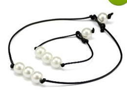 $enCountryForm.capitalKeyWord UK - Brand New Women's Fashion Hand Made high luster Freshwater Pearls Leather Rope Chain Simple and elegant Bracelet Necklace