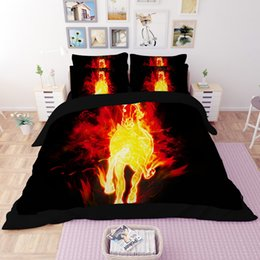 Horse Bedding Sets Queen NZ - Free shipping novelty cool fire horse pattern home dorm bedding set duvet Quilt Cover with 2 pillowcase Twin full Queen King size